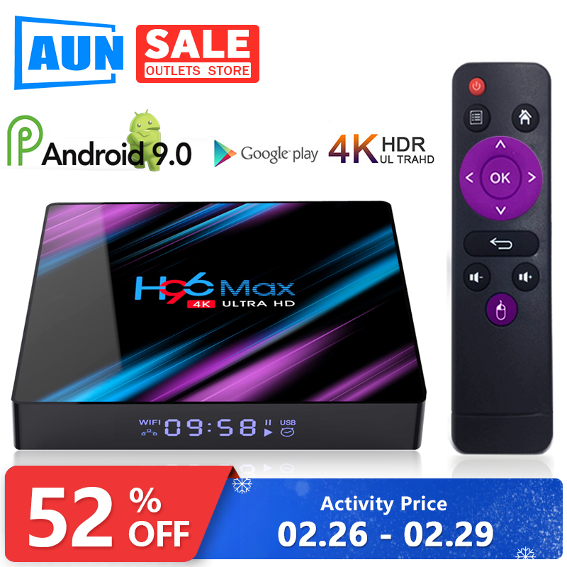AUN H96 MAX TV Box Smart Android 9,0 RK3318 4GB 32GB 64GB Media player 4K Google stimme Assistent Netflix Youtube