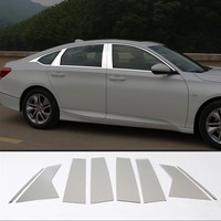 Car Outside Door Window Pillars Trim Covers For Honda Accord 10th 10 2018 2019 Auto Chrome Silver Sticker Car Styling