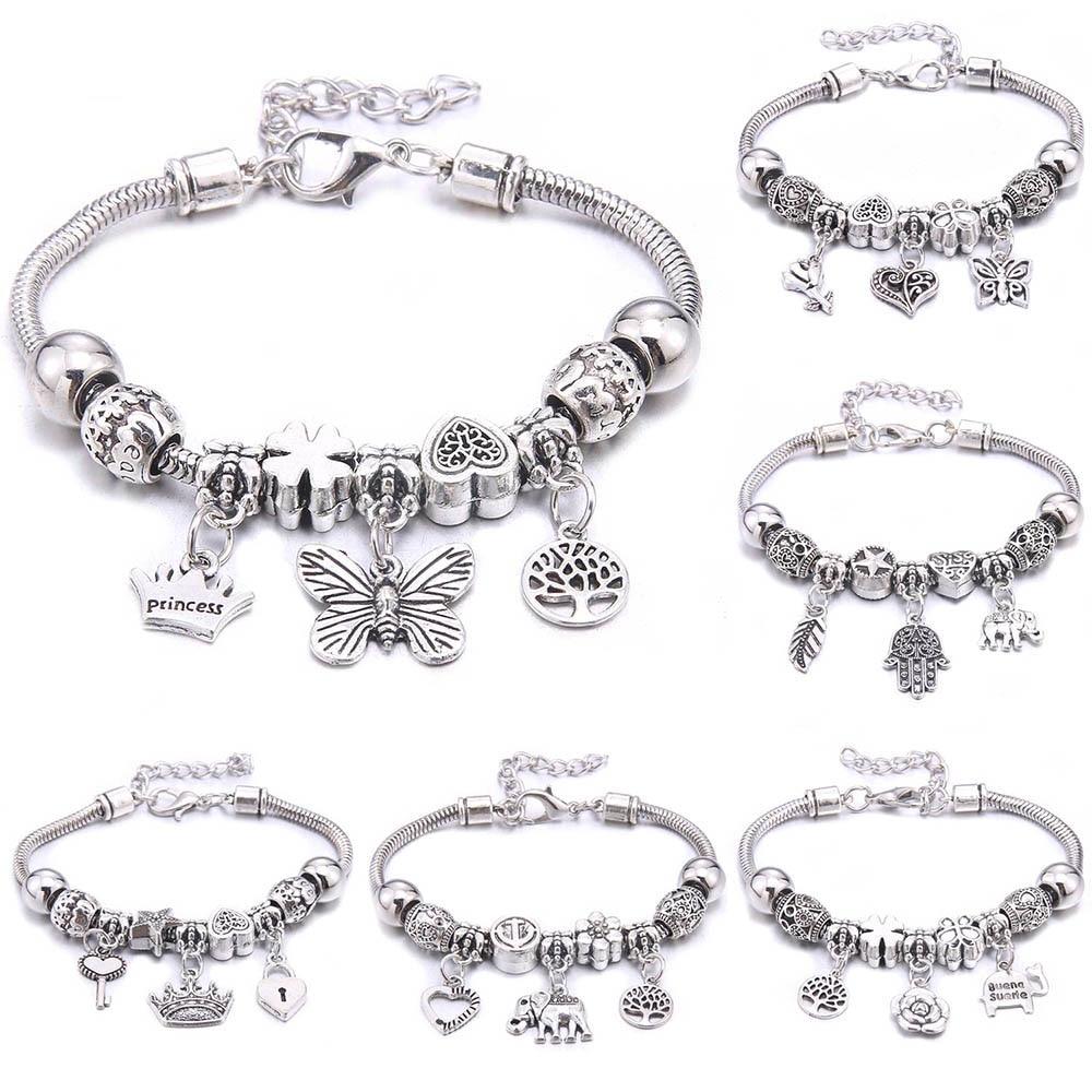 Charm Bracelet & Bangles Jewelry white butterfly Crown Beads Bracelets Brands Bracelets Fit Women Girl Friendship Gift
