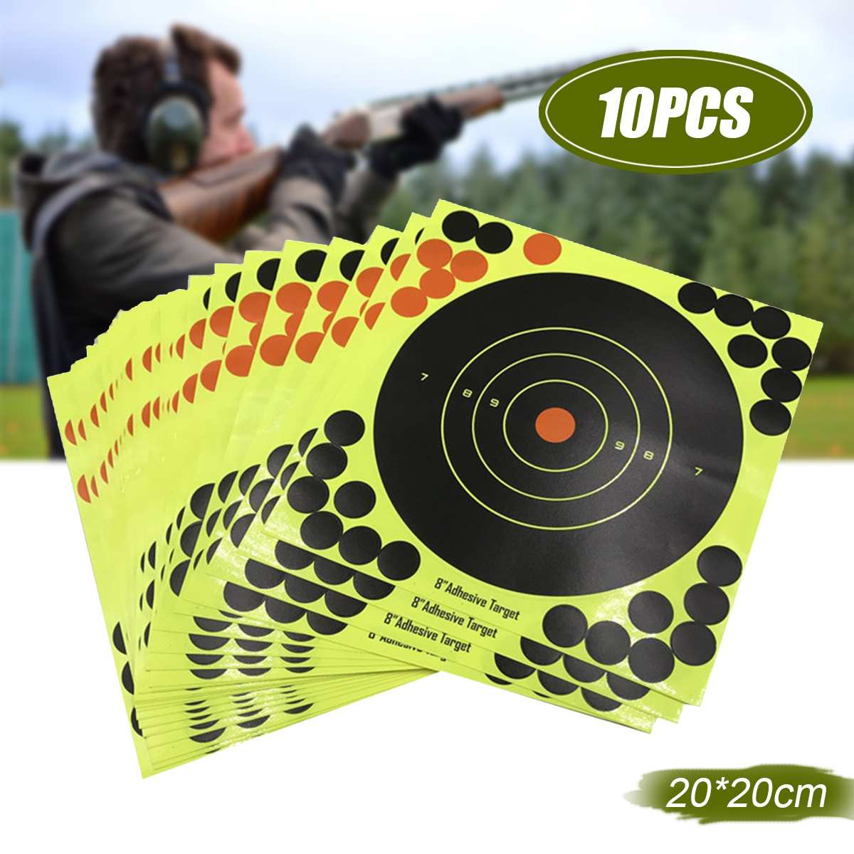 10PCS Shooting Adhesive Targets Splatter Reactive Target Sticker For Y Bow Hunting Shooting Practice 20x20CM
