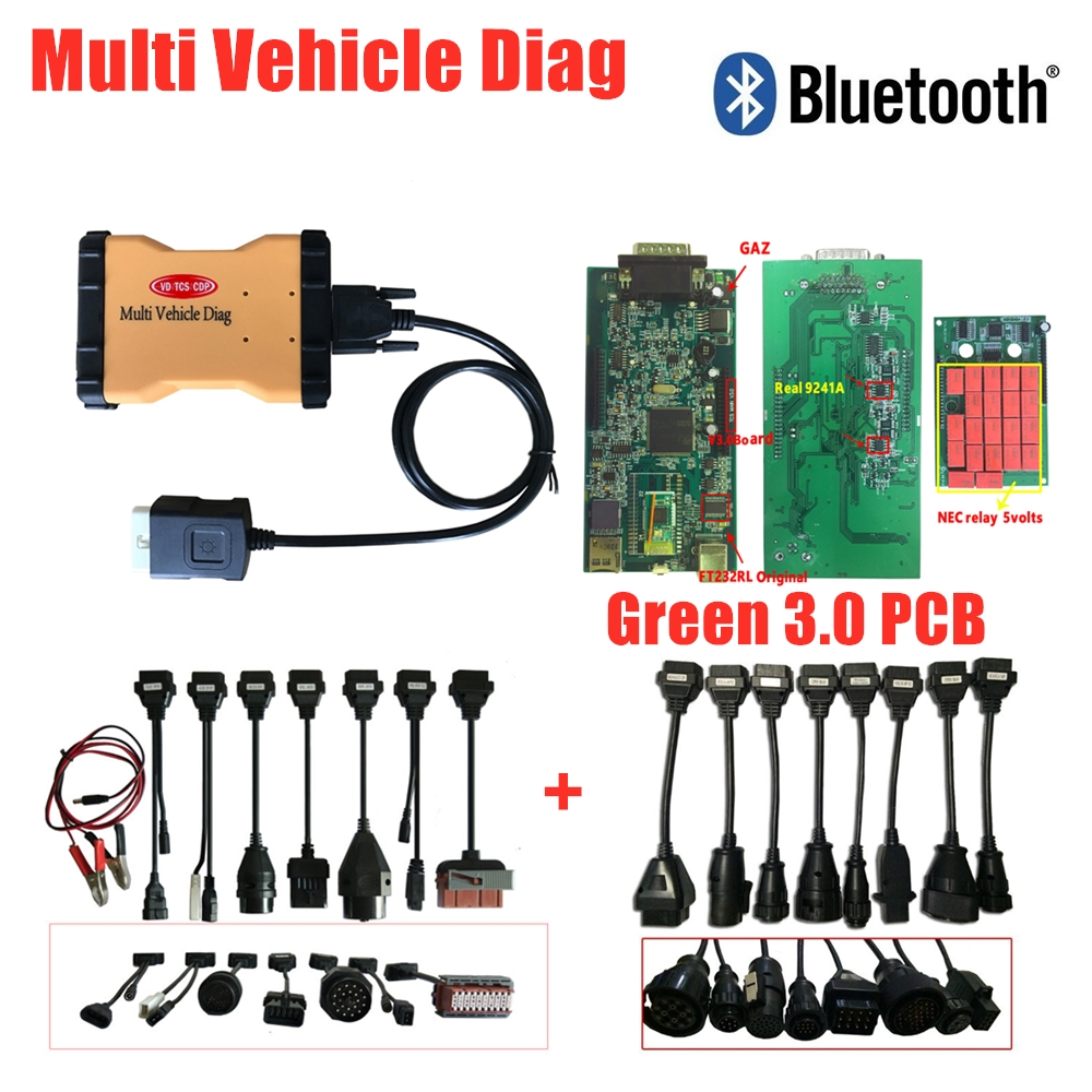 2019 Multi Vhicle Diag V3.0 Pcb With Bluetooth Multi Vehicle Diag MVDIAG Multidiag Auto Obd Diagnostic Tool+8pc Car/truck Cables