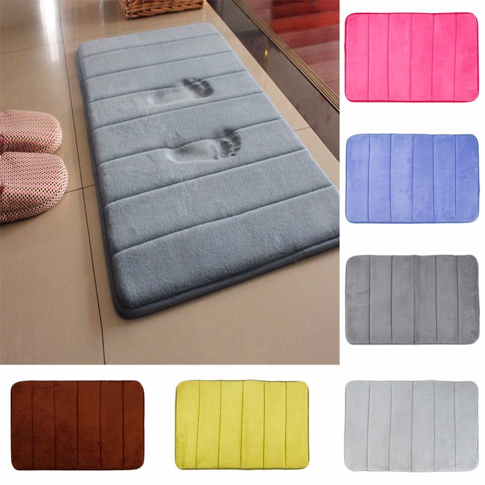 1Pc Bathroom Memory Foam Bath Mat Carpet Rug Non-slip Absorbent Fleece Bedroom Mat Kitchen Doormat Carpets Non Skid Soft Coral