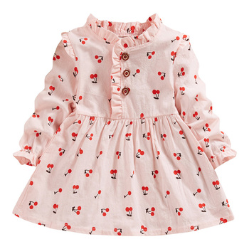 Autumn Babys Dress Toddler Baby Girls Long Sleeve Solid Ruched Cherry Print Dresses Girl Newborn Clothes Princess