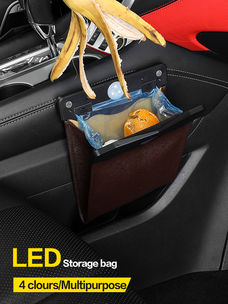 LED Car Trash Can Organizer Garbage Holder Automobiles Storage Bag Accessories Auto Door Seat Back Visor Trash Bin Paper Dustbin