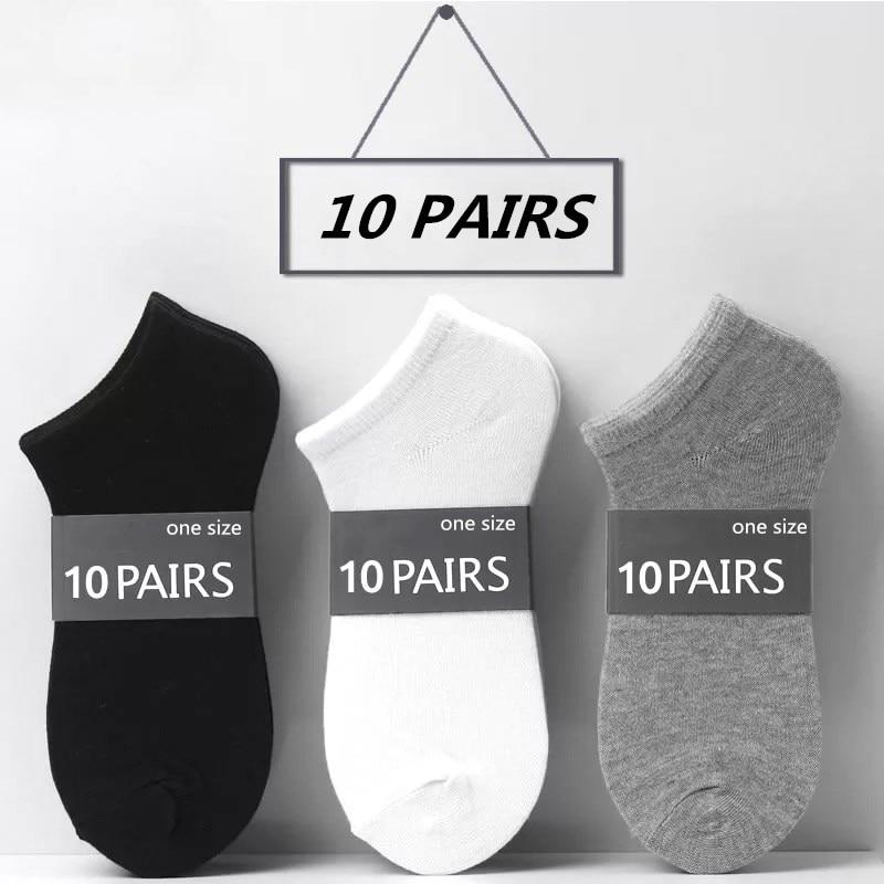 Женские короткие носочки по щиколотку, 20 шт. = 10 пар/лот, хлопковые короткие носочки по щиколотку с низким вырезом, невидимые дышащие однотон...