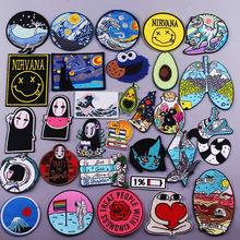 Embroidery Patch Cartoon Anime Iron On Patch On Clothes No Face Man Van Gogh Embroidered Patches For Clothing Accessories Stripe