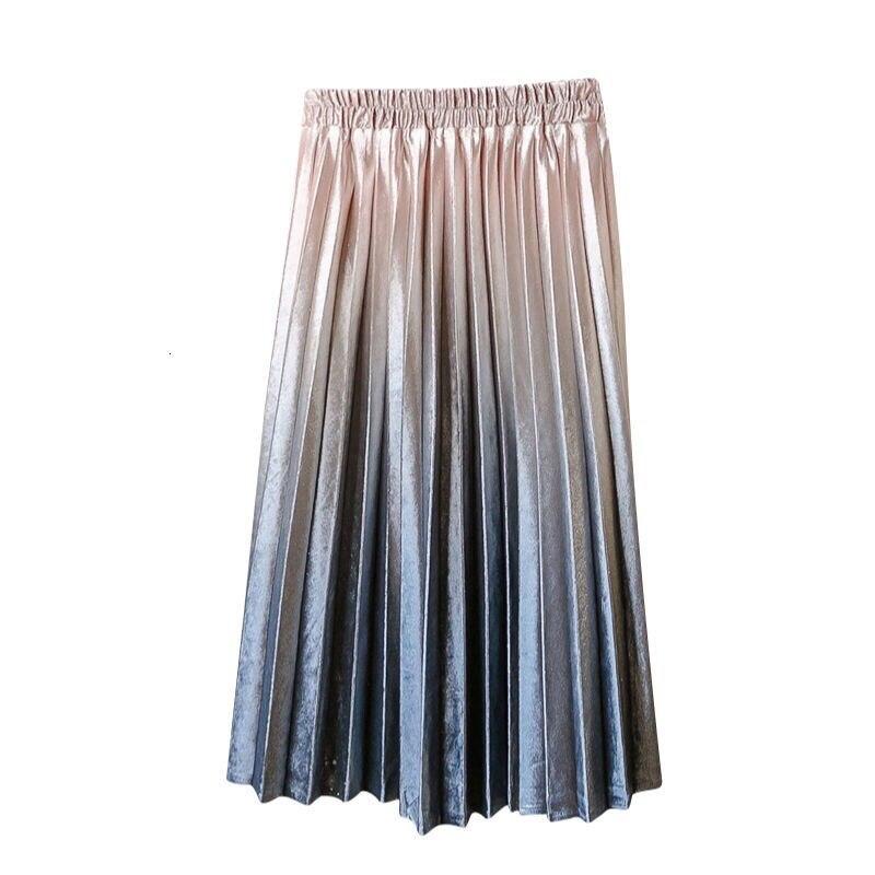 Fashion Women Skirts Spring AutumnHigh Waist  Elastic Pleated Skirts Big Swing Female Casual Black White Midi Skirt Long