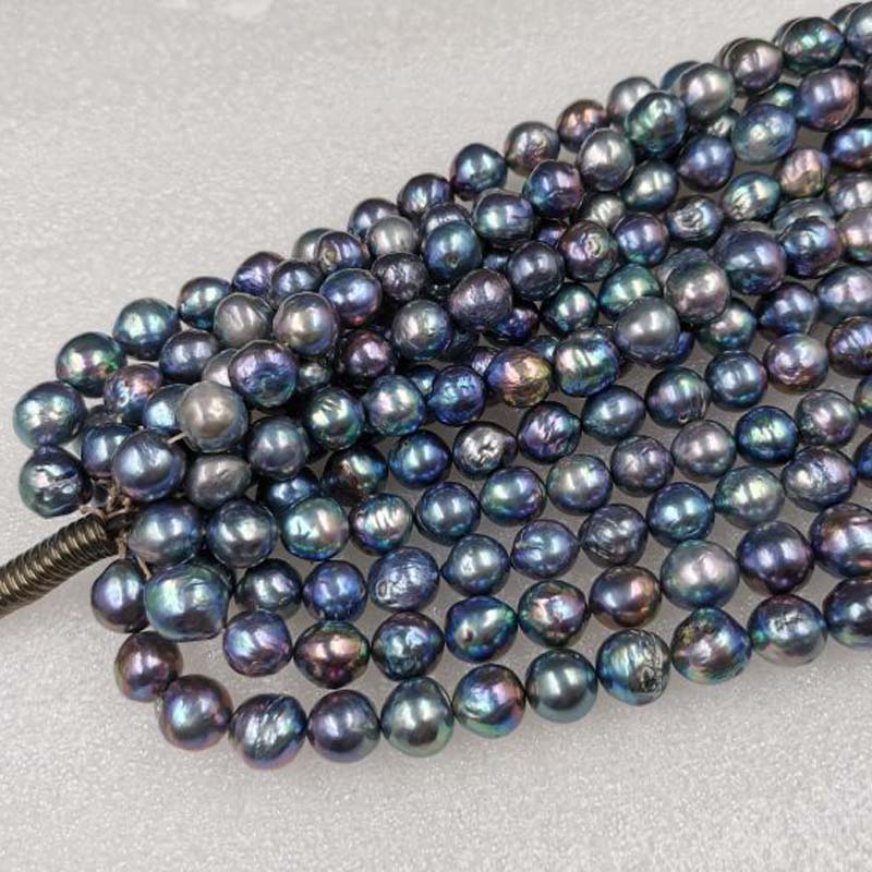 """15/"""" Fresh Water Rondelle Button Pearl 8mm Peacock Beads"""
