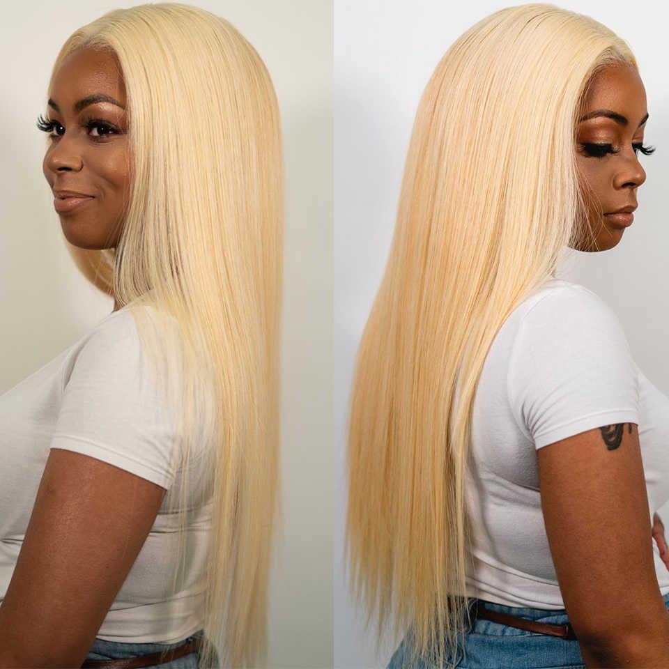 13x6x1 Blonde 613 Lace Front perruque droite perruques de cheveux humains pour les femmes noires brésilienne Remy cheveux HD Transparent dentelle frontale perruques