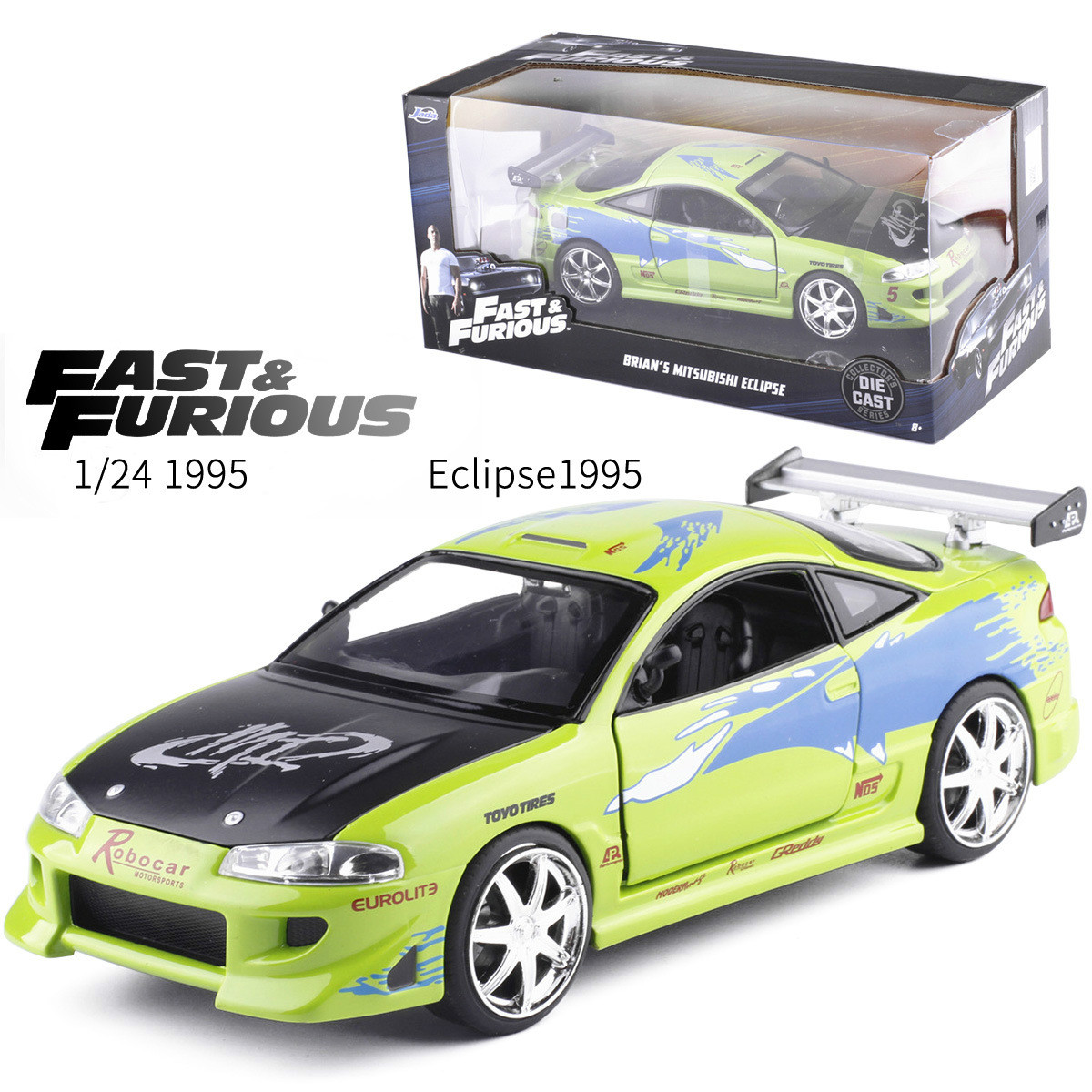 1:24 Jada Classical Fast And Furious 1995 Mitsubishi Eclipse Diecast Model Car Toy For Kid Birthday Gifts Collection Box-packed
