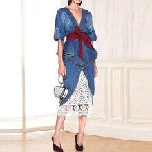 Chất Lượng Cao Mới Nhất 2020 Thiết Kế Đường Băng Đồ Nữ Xù Denim Áo Váy Bộ