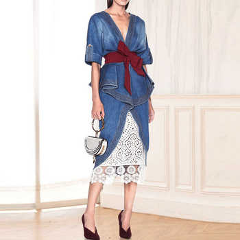 HIGH QUALITY Newest 2019 Designer Runway Suit Set Women's Ruffle Denim Tops Lace Skirt Set - DISCOUNT ITEM  27% OFF All Category