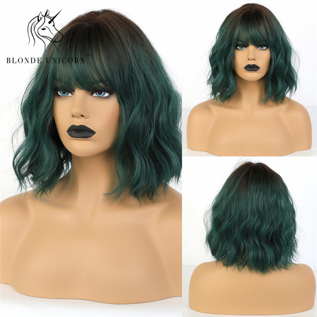 Blonde Unicorn Sythetic Ombre Green Short Wavy Pastel Bob Wigs with Bangs Women Shoulder Length Cosplay Wig Heat Resistant Fiber