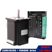 Nema 23 Stepper Motor 2เฟส4สายไฟ20Kgcm CNC 57X76มม.2.8A 189N.ซม.23HS7628 + TB6600ไดรฟ์มอเตอร์สำหรับเครื่องมิลลิ่งCNC