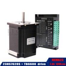 Nema 23 moteur pas à pas 2 phases, 4 fils 20Kgcm CNC 57x76mm 2.8A 189N.cm 23HS7628 + TB6600 moteur dentraînement pour fraiseuse à CNC