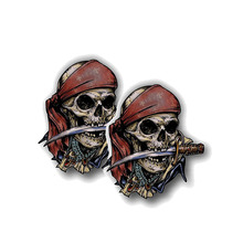 Car Sticker 2X Creative Pirate Skull Reflective Motorcycle Creativity Cover Scratches Terror Decal PVC,8cm*9cm pirate mcsnottbeard in the zombie terror rampage