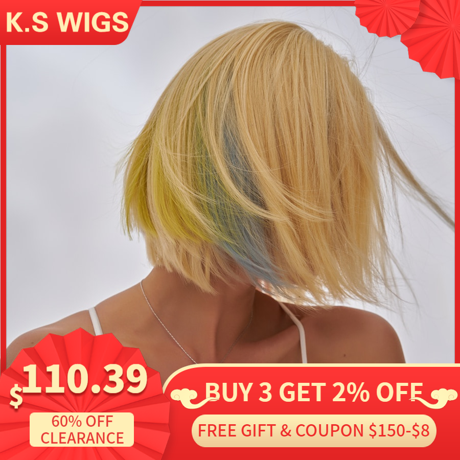 K.S WIGS 10'' Short Bob Lace Front Wig Ombre Blond Rainbow Remy Straight Pre-Plucked Natural Hairline Wigs 150% Density