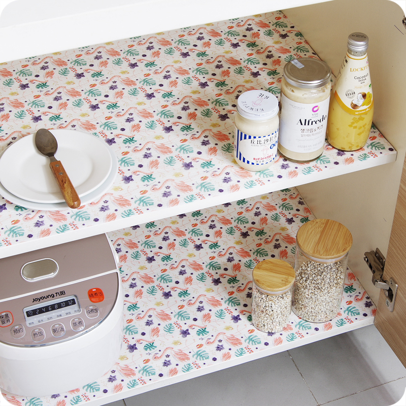 1 Roll Table Mat Drawers Cabinet Shelf Liners Cupboard Placemat Waterproof Oil Proof Shoes Cabinet Mat  Flamingo Kitchen Sticker