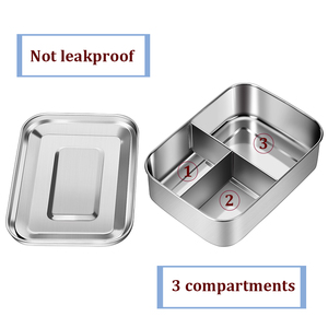Image 3 - Stainless Steel Lunch Box With 3 Compartments Factory Food Container Bento Box Fruit Cake Snack Storage Box