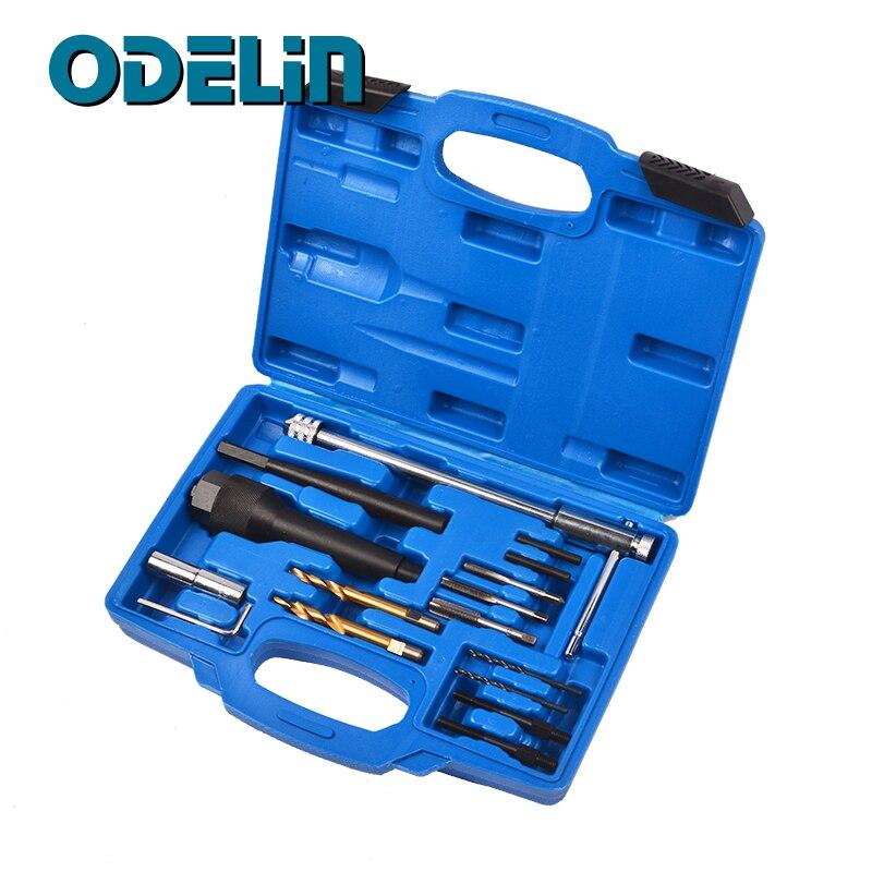 Universal 16 pces 8mm & 10mm danificado glow plug kit de ferramentas de remoção de instalação