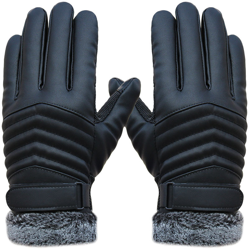 New Autumn Winter Velvet Gloves Men Touch Screen Mittens Glove Male Thickening Hiking Riding Outdoor Non-slip Leather Gloves