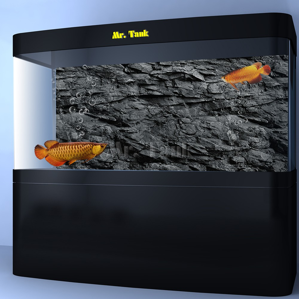 Mr.Tank 3D Effect Black Stone Texture Aquarium Background Poster HD Rock Stone Selfadhesive Fish Tank Backdrop Decorations