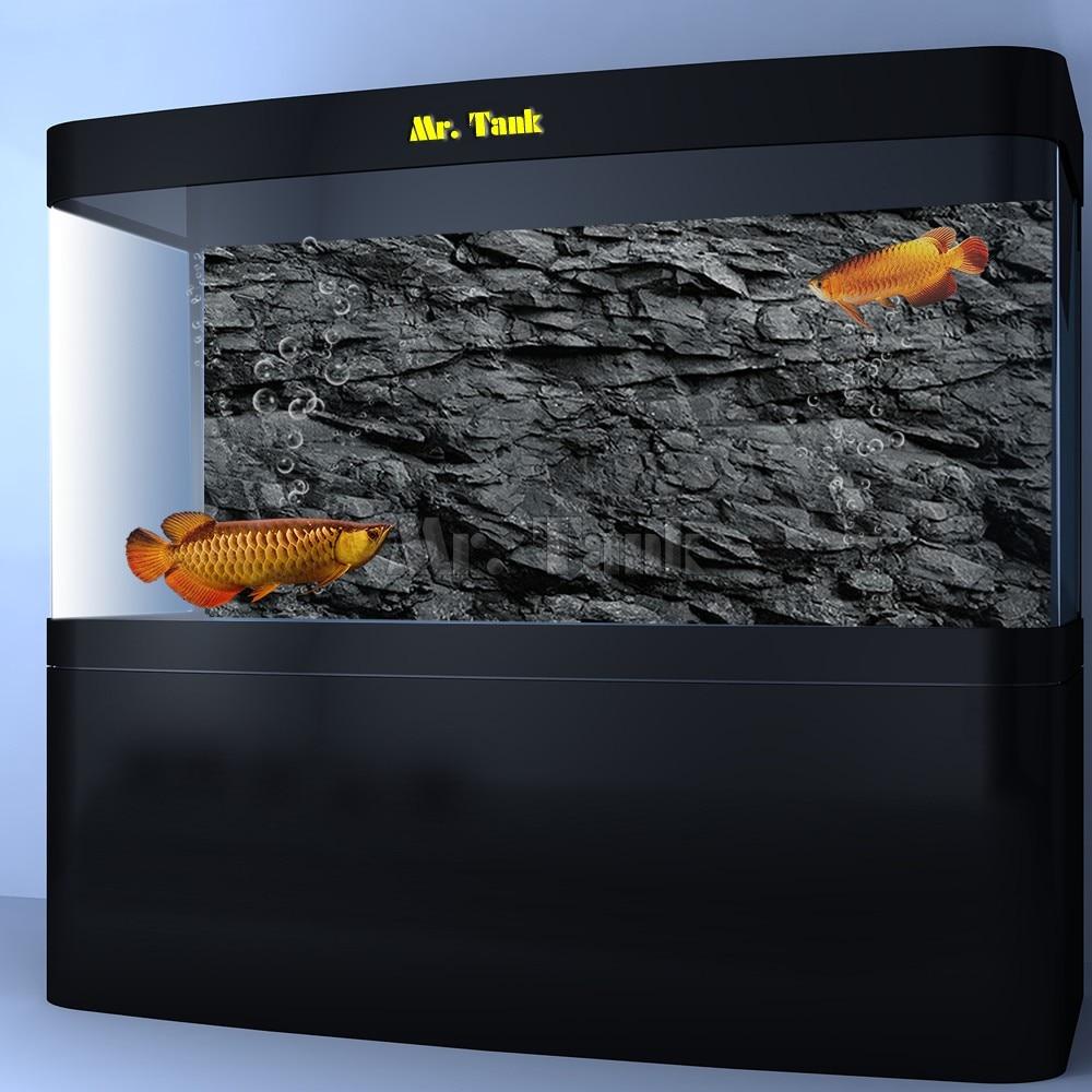 Mr.Tank 3D Effect Black Stone Texture Aquarium Background Poster HD Rock Stone Selfadhesive Fish Tank Backdrop Decorations