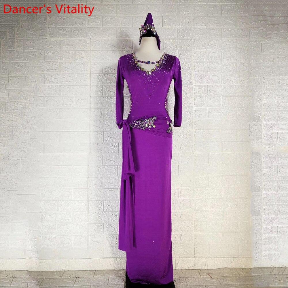 Зимняя одежда для танца живота, сверкающий Алмазный халат, повязка на голову с поясом, набор для танцев в Восточном индийском стиле