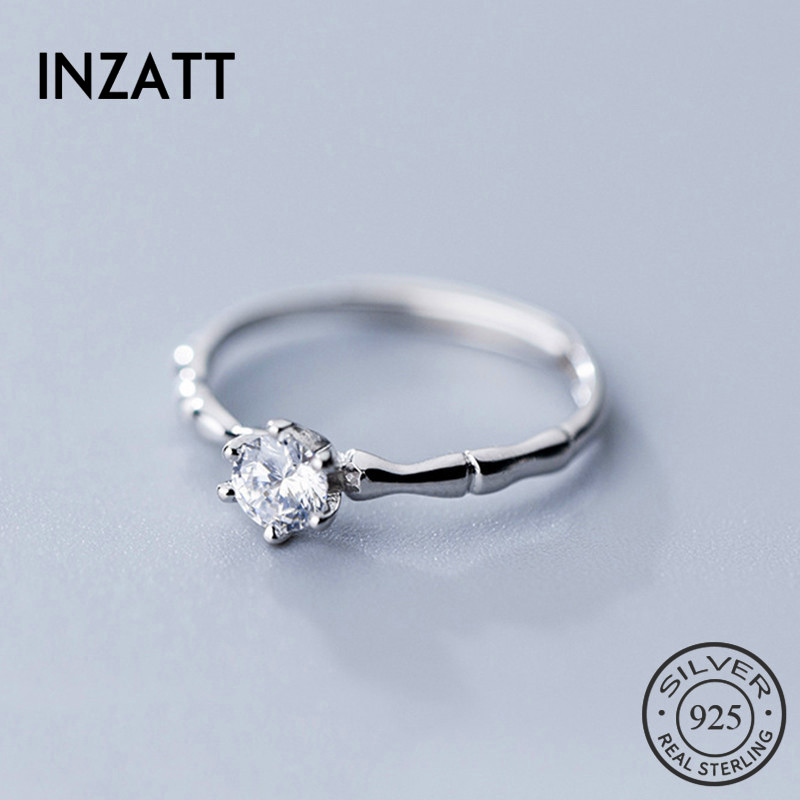 INZATT Real 925 Sterling Silver Zircon Minimalist Ring For Women Party Cute Fine Jewelry Accessories 2019 Gift