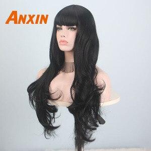 Image 3 - Anxin Lange Schwarz Perücken für Schwarze Frauen Welle Haare mit Pony Synthetische Natürliche Farbe Schwarz Blonde Gelb Cosplay Partei Perücke