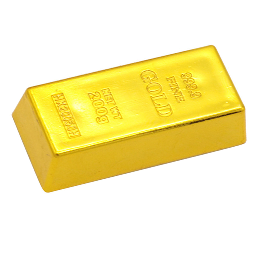 Hot Fake Plastic 999.9 Gold Bar Bullion Prop Desk Table  Decoration