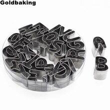 Форма для печенья из нержавеющей стали с буквенным алфавитом и цифрами, резак для печенья и торта, набор для украшения формы, набор для помадки