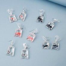 Cartoon Imitation Goldfish Water Bag Pendant Earrings For Women Girls Resin Geometric Shaped Dangle Ear Jewelry Party Gifts