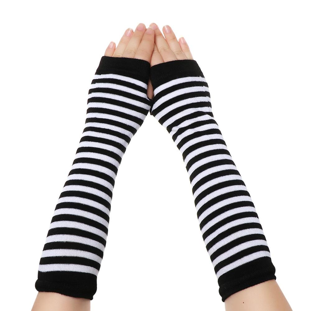 Yeni kadın pamuk klasik parmaksız uzun örme eldiven bileklik kol kapağı kızlar uzun kollu yumuşak çizgili dirsek Mitten sıcak