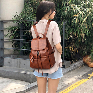 Image 4 - 2019 Women Leather Backpacks High Quality Sac A Dos Female Large Capacity School Backpack Leather Ladies Solid Casual Daypack