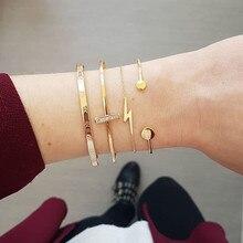 LETAPI 4Pcs/Set Bohemian Lightning Circle bar Bracelet Set for Women Alloy Geometric Opened Bijoux