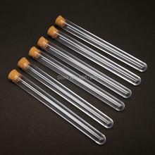 50 шт., прозрачные пластиковые пробирки с пробками, 15x150 мм