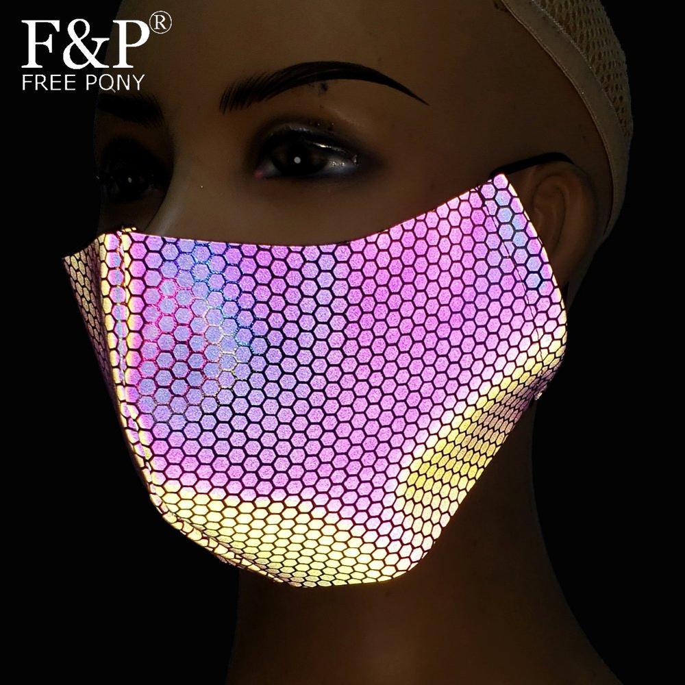 Holographic Reflective Rainbow Geometric Print EDM Dust Mask Bandeau Burning Man Festival Rave Face Mask