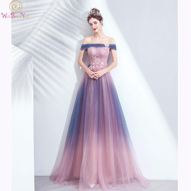 Elegant Long Prom Dresses Gradient Sparkle Off Shoulder Flower A Line 2020 Evening Gowns Pink Purple 100% Real Walk Beside You