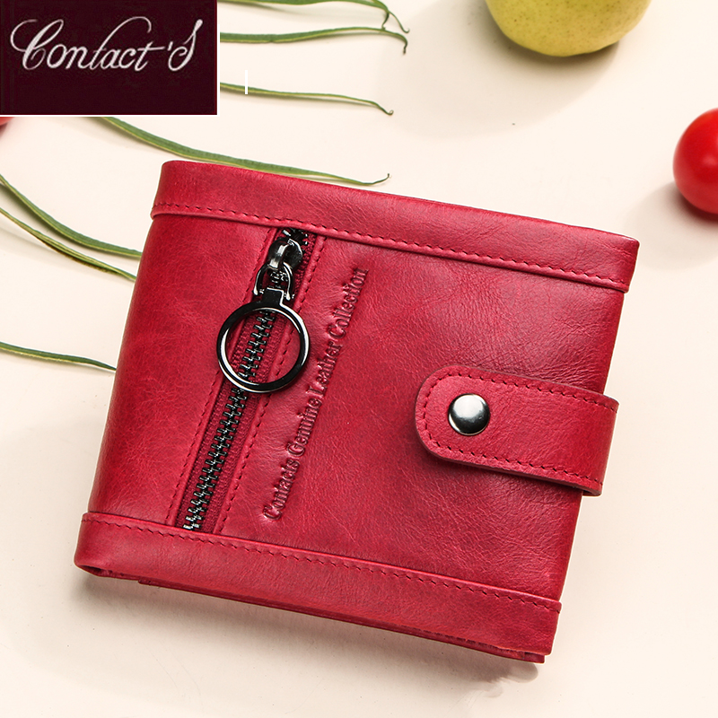 Contact's Small Women Genuine Leather Wallet Red Femal Rfid Card Wallets Zipper Coin Purse Pocket Girls Ladies Wallet Portfel