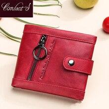 Kontakts prawdziwy mały Portfel skórzany kobiety kobieta futerał na karty Rfid portfele dla kobiet moda hasp Coin torebka kobiety Portfel