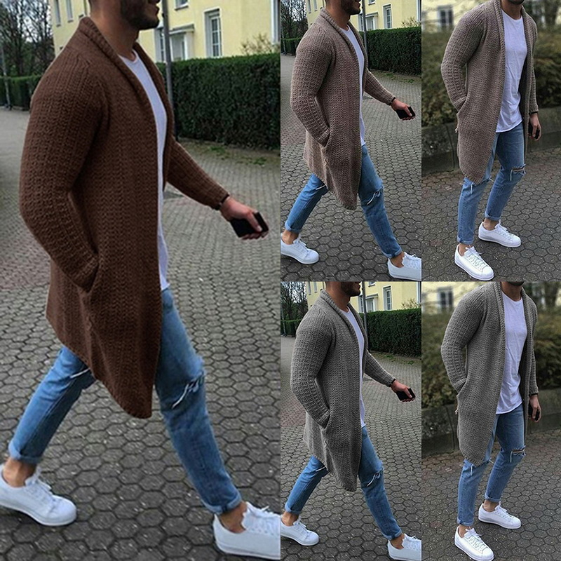 Men Cardigan Sweater Men Long Sleeve Solid Sweater Coat Winter Autumn Casual Solid Color Cardigans Knitwears Knitted Streetwears