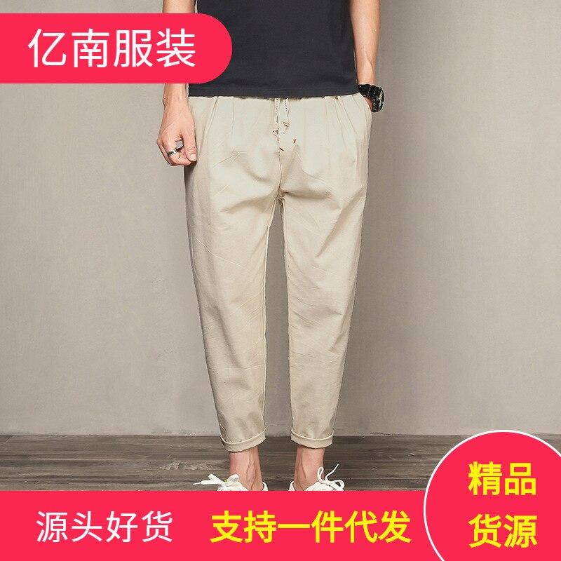 2019 Summer Men Capri Pants Korean-style Trend Loose Casual Pants Skinny Cotton Linen 9 Points MEN'S Trousers