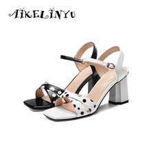 AIKELINYU Summer Genuine Leather Classics Lady Coarse Heel Sandals Spotted Square Head Office Fashion Sexy Pumps Women