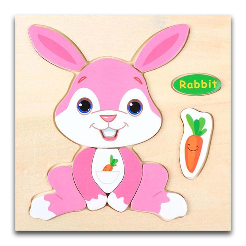 3D Wooden Puzzle Jigsaw Toys For Children Wood 3d Cartoon Rabbit Animal Puzzles Intelligence Kids Early Educational Toys