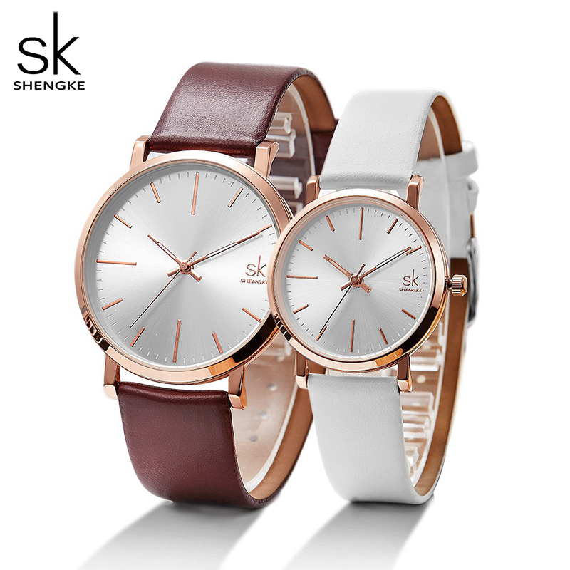 Shengke Women Dress Watches Luxury Lovers Couple Watches Men Date Waterproof Women Leather Strap Quartz Wristwatch Montre Homme