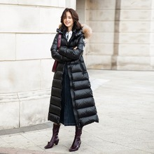 11.11 New Winter Was Thin Temperament Over The Knee Fur Collar Hooded Belt And Long Ladies Fashion Down Jacket 2020