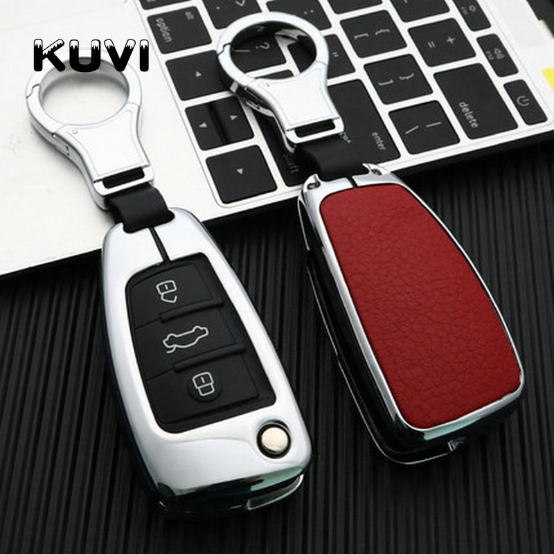 Car Styling Genuine Leather Galvanized Key Protection Cover Case For Audi C6 A7 A8 R8 A1 A3 A4 A5 Q7 A6 C5 Car Holder Shell in Key Case for Car from Automobiles Motorcycles