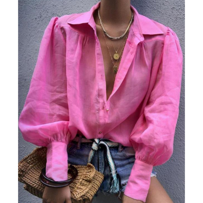 Vintage Puff Sleeve OL Blouse  Women  Long Sleeve V-neck Casual Ladies Harajuku Tops Shirts 2020 New Fashion
