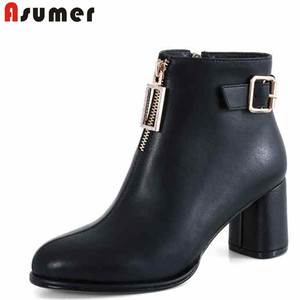 ASUMER Plus size 34-42 New genuine leather boots women round toe thick high heels ziper fashion ankle boots for women(China)